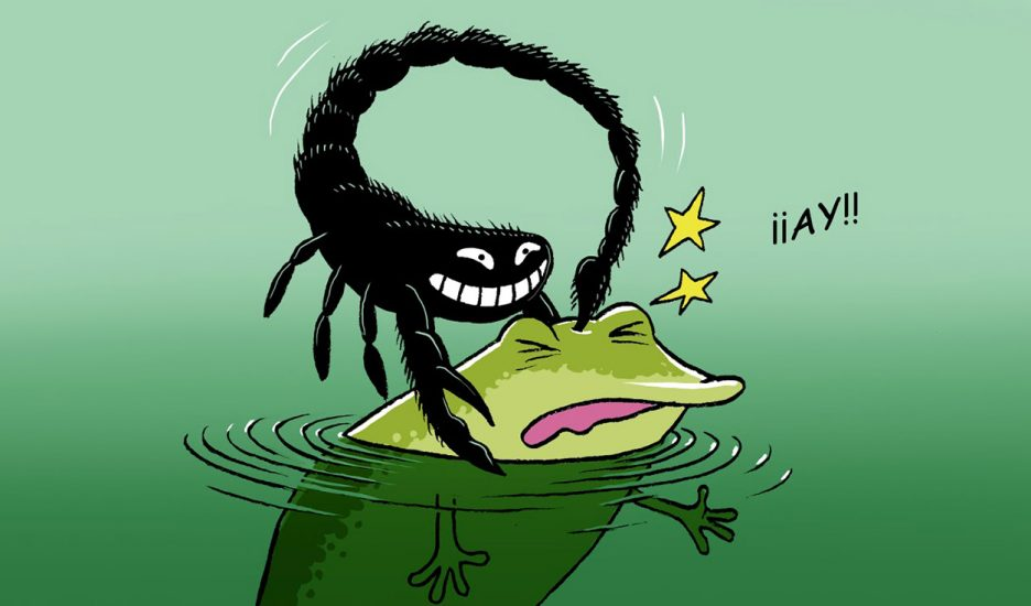 El escorpión, la rana y los cuadernos